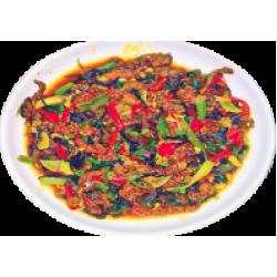 Уйщанрусы (говядина, древесные грибы, зелёный лук, болгарский перец )