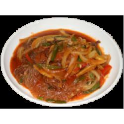 Бяйсяй фунтуру (Пекинская капуста, фунчёза, мясо, болгарский перец, специи)