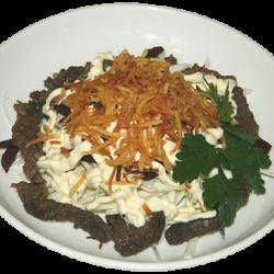 Французский (свекла сырая, капуста, мясо жареное, картофель пай)