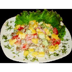 Гурман (отварная говядина, свежий огурец, свежий помидор, сыр, майонез)