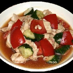 Ляньбянчифу (куриные грудки, огурцы, помидоры, специи)