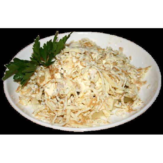 Нежность (яичные блины, судак, варёный картофель, майонез)