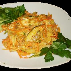 Новость (корейская морковь, огурец свежий, грибы жареные, отварная курица, майонез)