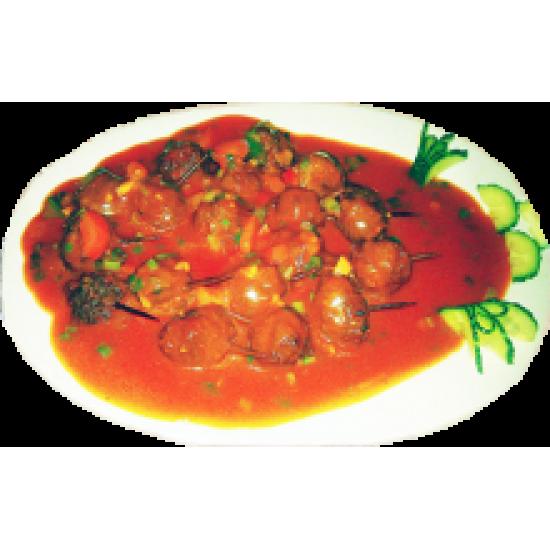 Ячаруанзы (фрикадельки на шпажках в кисло-сладком соусе)