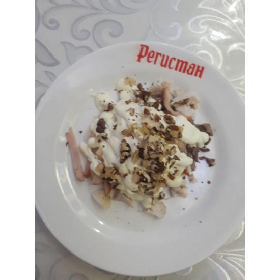 Ностальгия (руляда, язык, варёная курица, грецкий орех, грибы жареные, майонез)